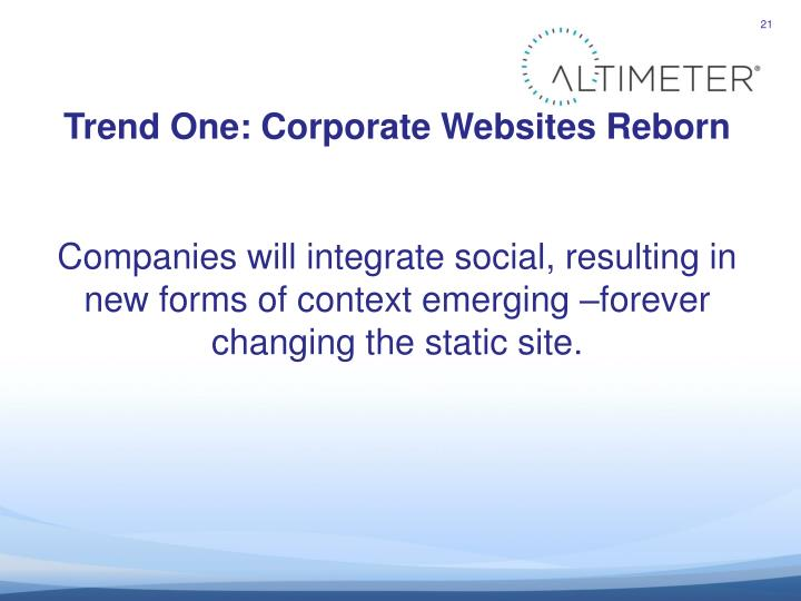 Trend One: Corporate Websites Reborn