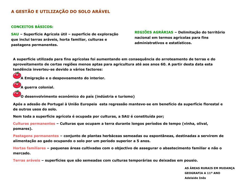 A GESTÃO E UTILIZAÇÃO DO SOLO ARÁVEL