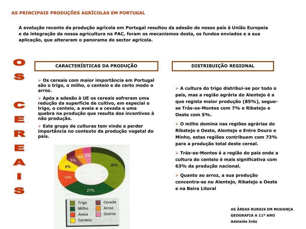 AS PRINCIPAIS PRODUÇÕES AGRÍCOLAS EM PORTUGAL