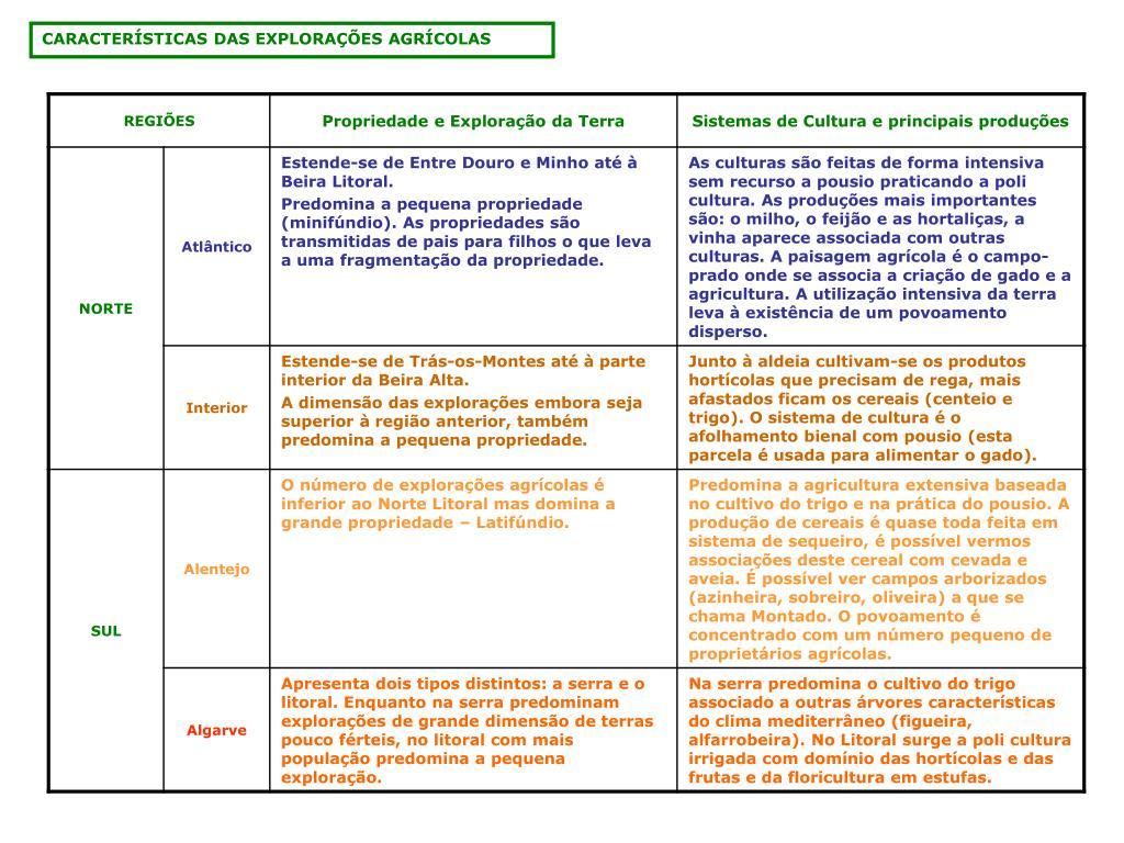 CARACTERÍSTICAS DAS EXPLORAÇÕES AGRÍCOLAS