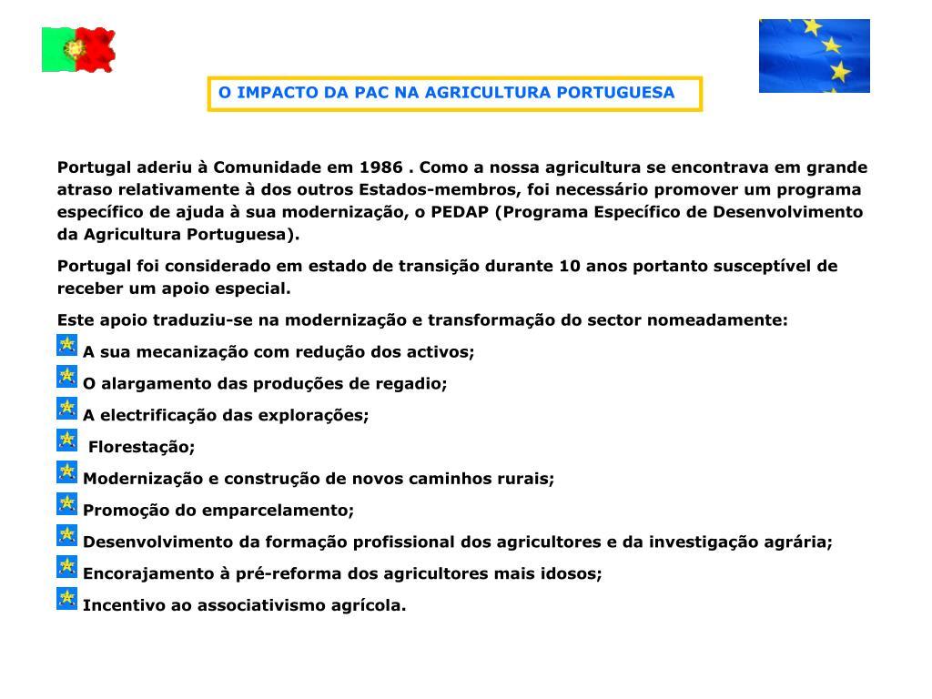 O IMPACTO DA PAC NA AGRICULTURA PORTUGUESA