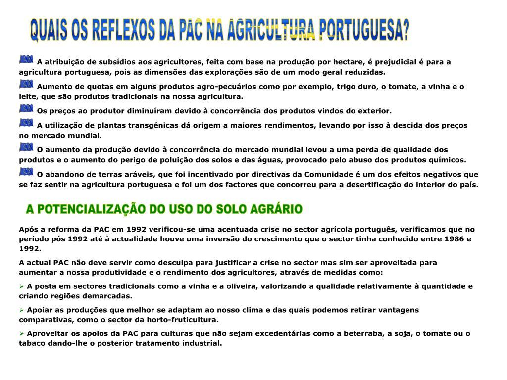 QUAIS OS REFLEXOS DA PAC NA AGRICULTURA PORTUGUESA?