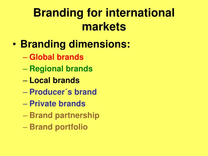 Branding for international markets