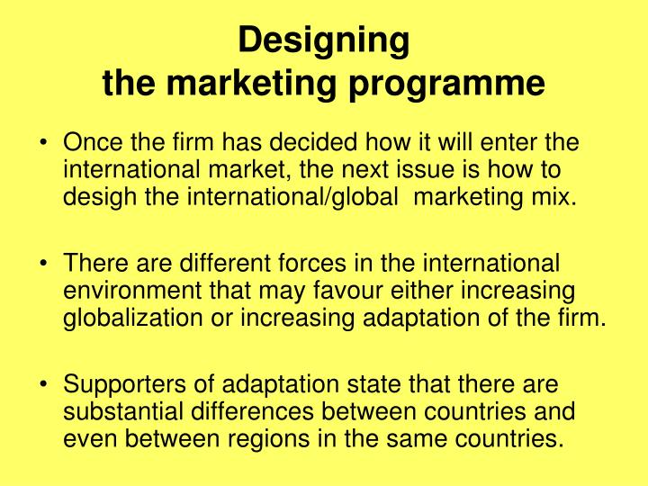 Designing the marketing programme