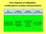 four degrees of adaptation combinations product and promotion