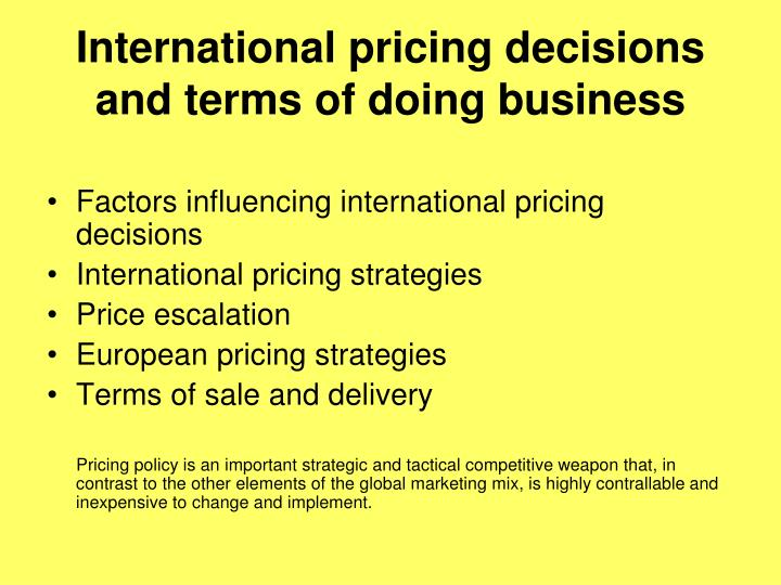 International pricing decisions