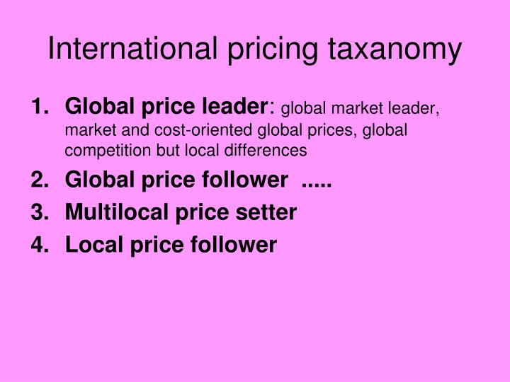 International pricing taxanomy