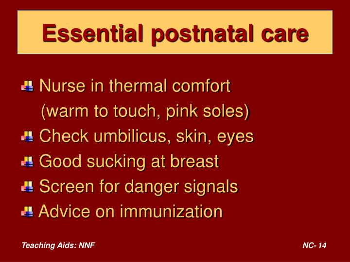 Essential postnatal care