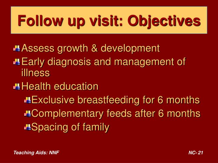 Follow up visit: Objectives