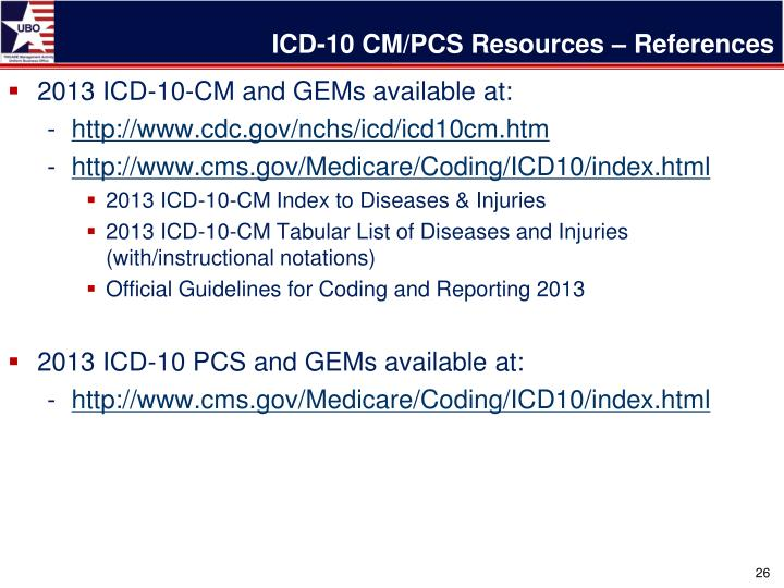 ICD-10 CM/PCS Resources – References