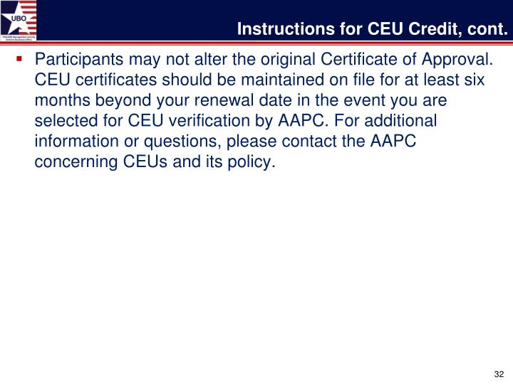 Instructions for CEU Credit, cont.