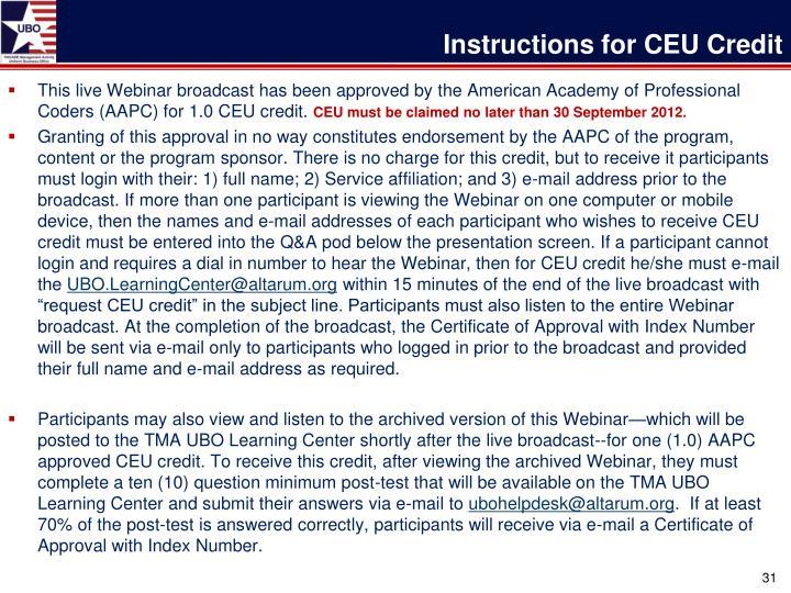 Instructions for CEU Credit