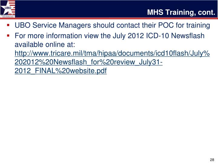 MHS Training, cont.