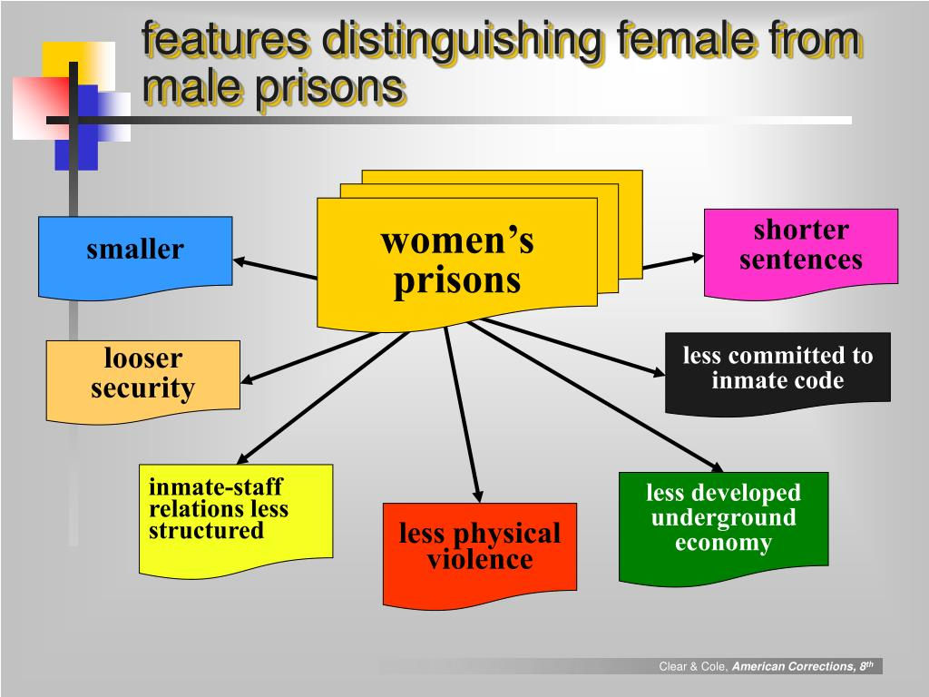 features distinguishing female from male prisons