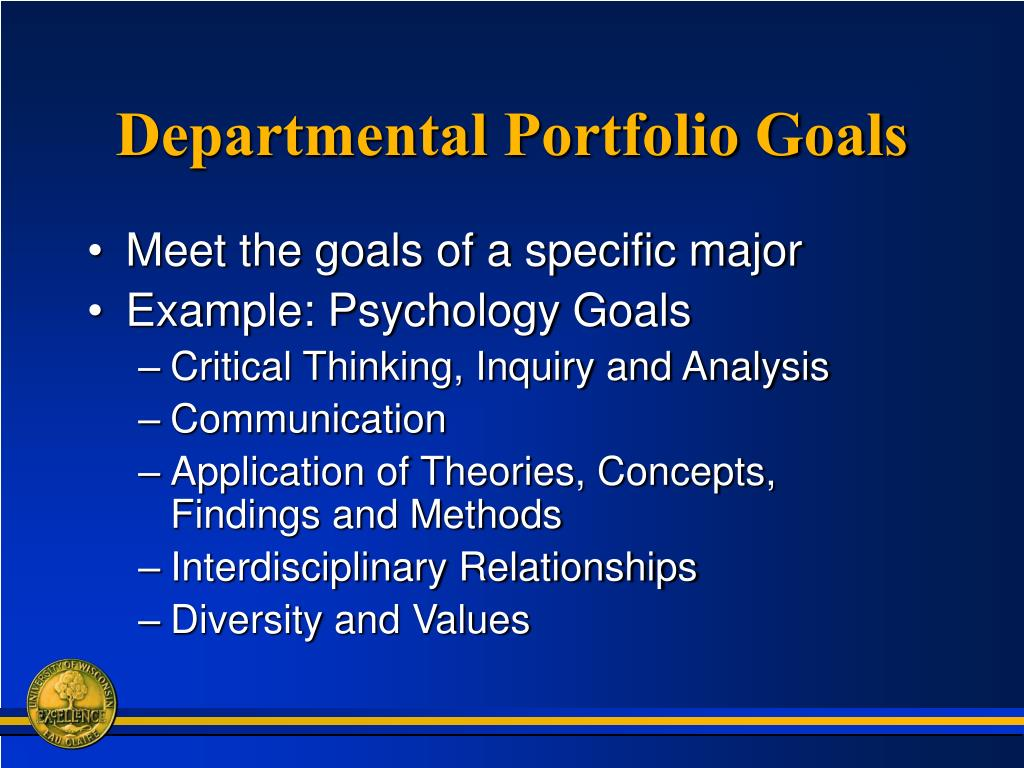 Departmental Portfolio Goals
