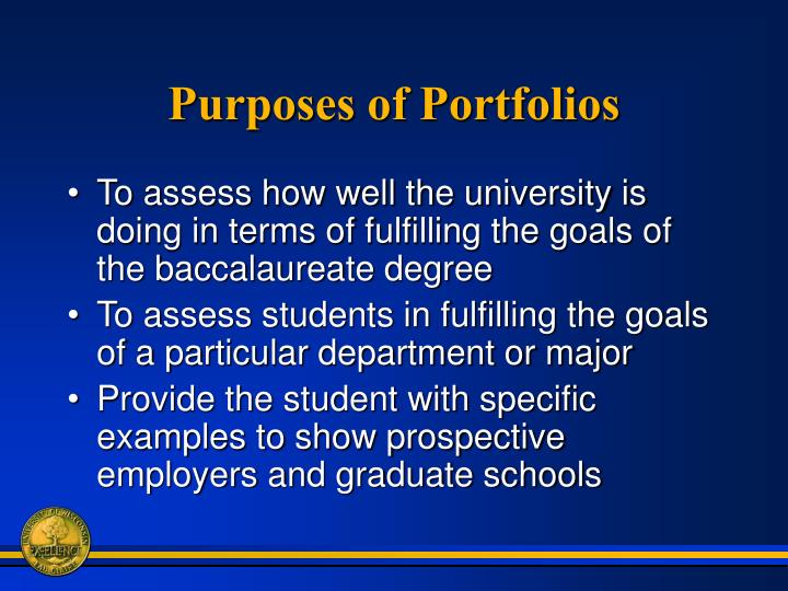 Purposes of portfolios