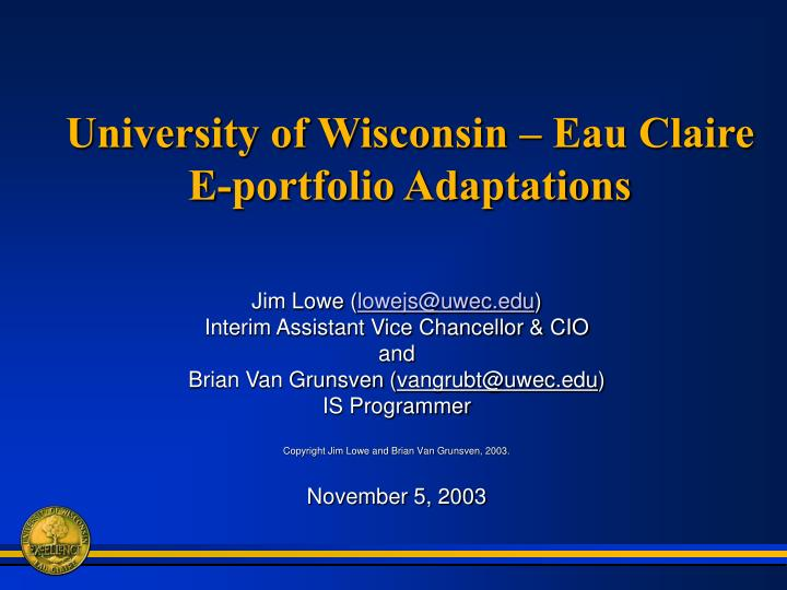 University of wisconsin eau claire e portfolio adaptations