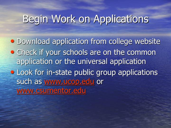 Begin Work on Applications