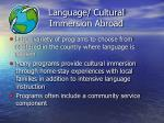 language cultural immersion abroad