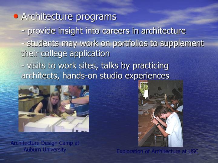 Architecture programs