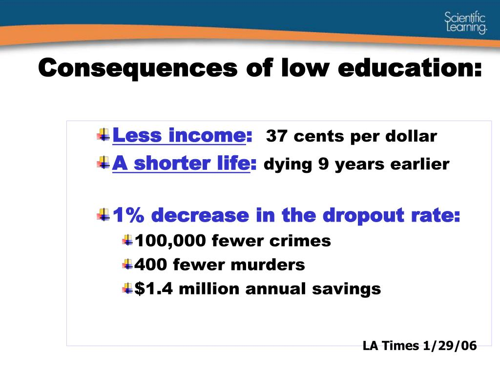 Consequences of low education: