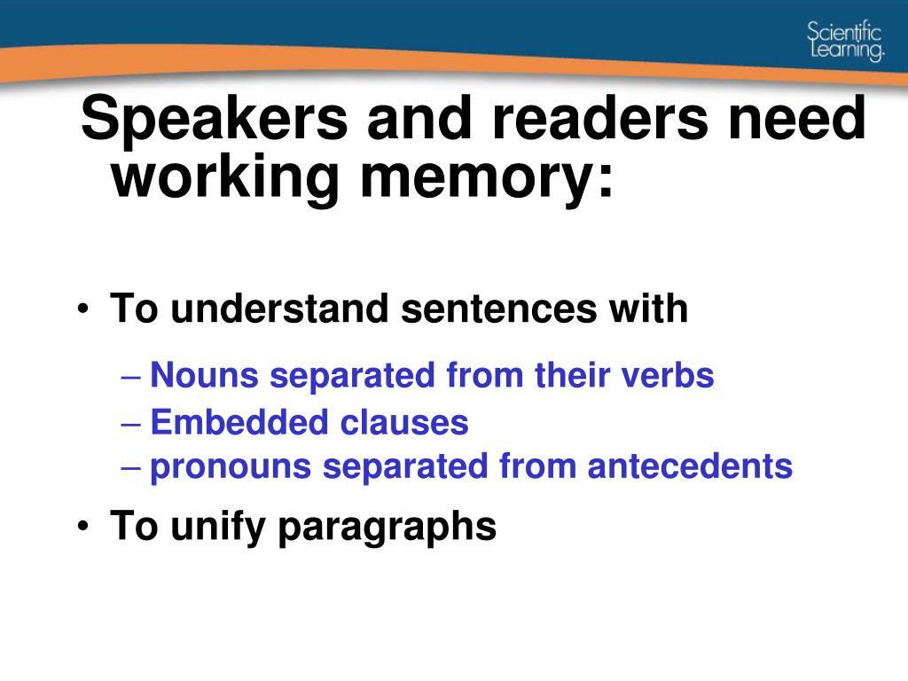 Speakers and readers need working memory: