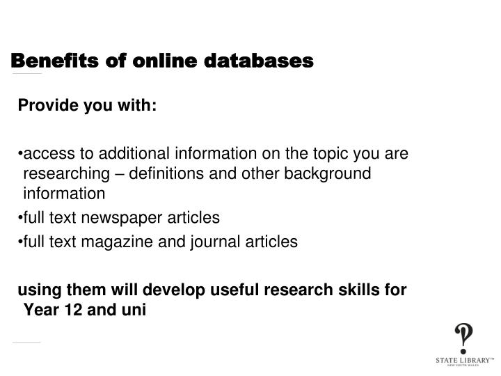 Benefits of online databases