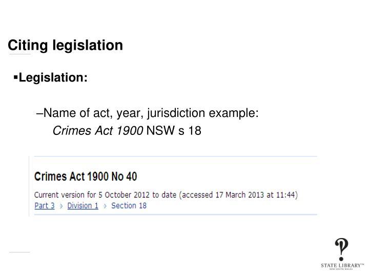 Citing legislation