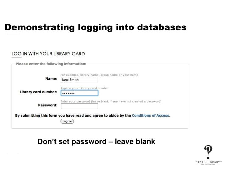 Demonstrating logging into databases