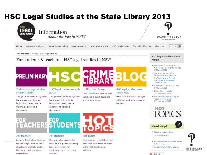 Hsc legal studies at the state library 2013