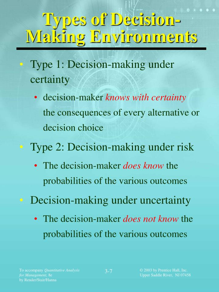 types of decision making environments Decision making is crucial for survival of business businesses have to make decision considering the limited amount of information decision making problems are divided into two types deterministic and probabilistic deterministic model of problem solving depends on the relationship between.