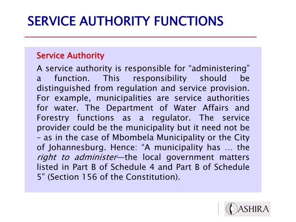 SERVICE AUTHORITY FUNCTIONS