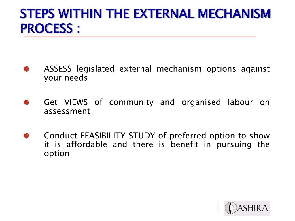STEPS WITHIN THE EXTERNAL MECHANISM PROCESS :