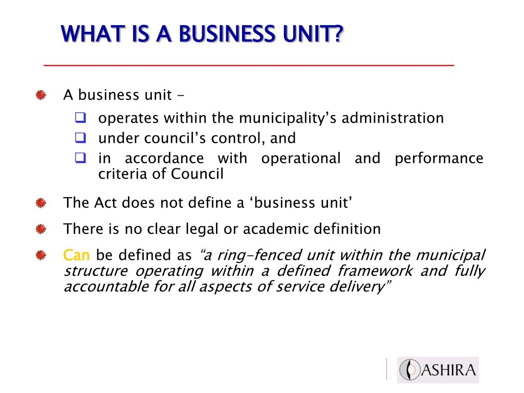 WHAT IS A BUSINESS UNIT?