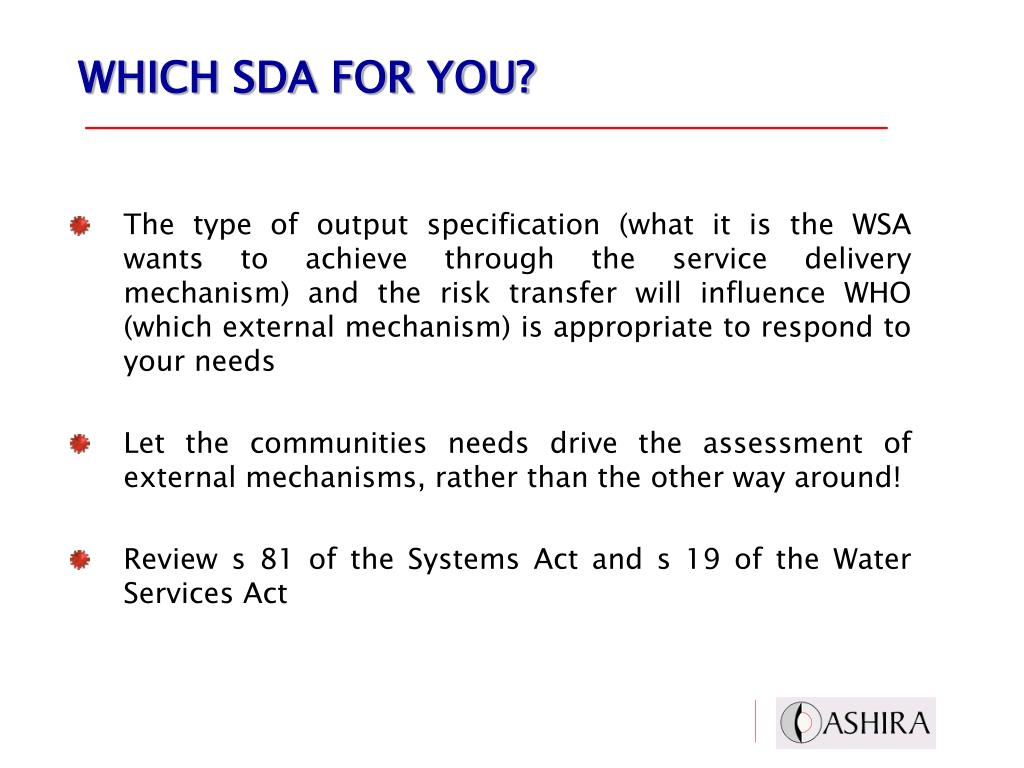WHICH SDA FOR YOU?