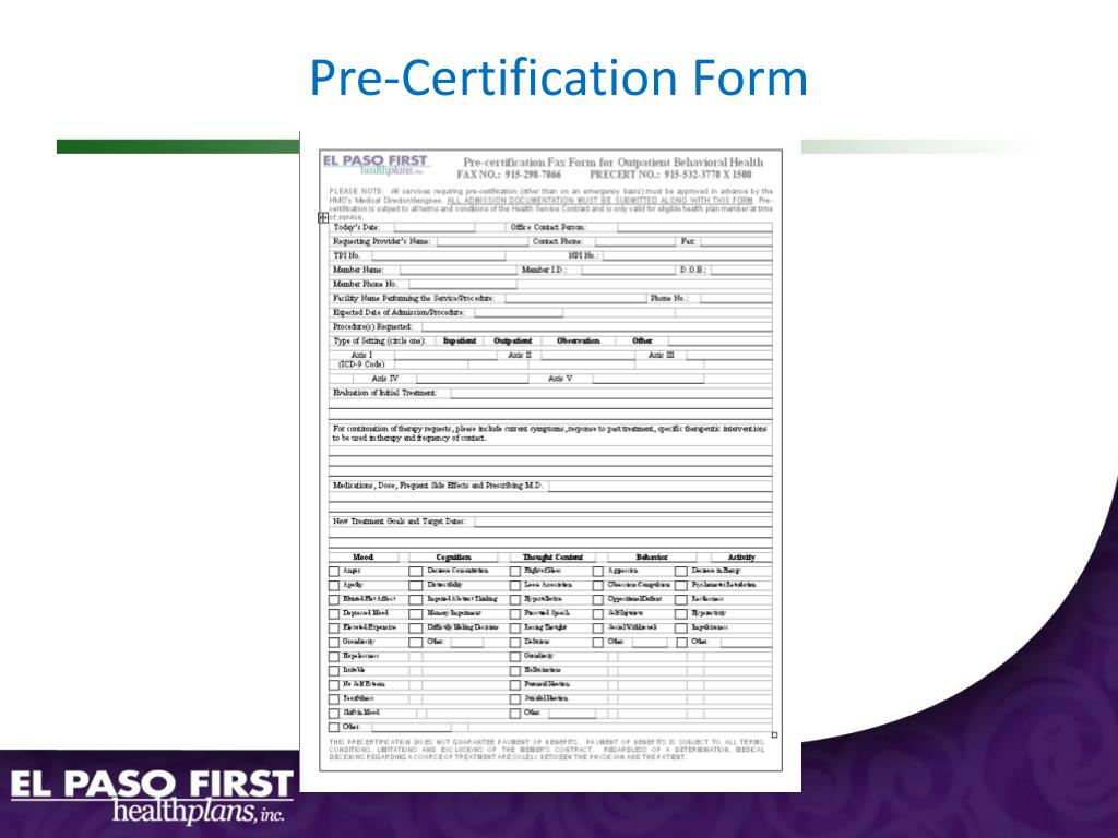 Pre-Certification Form