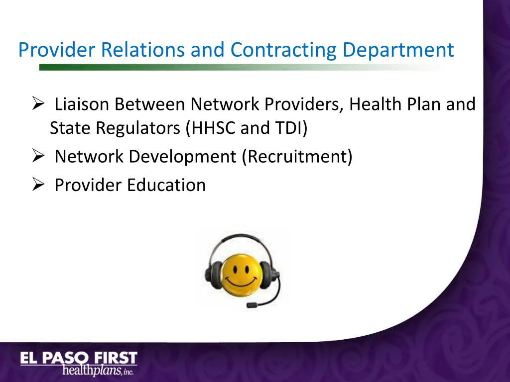 Provider Relations and Contracting Department