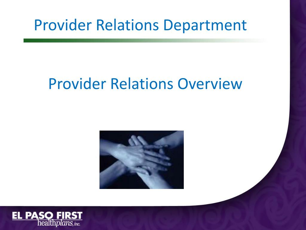Provider Relations Department