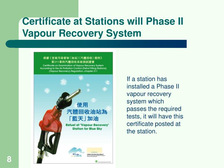 Certificate at Stations will Phase II Vapour Recovery System