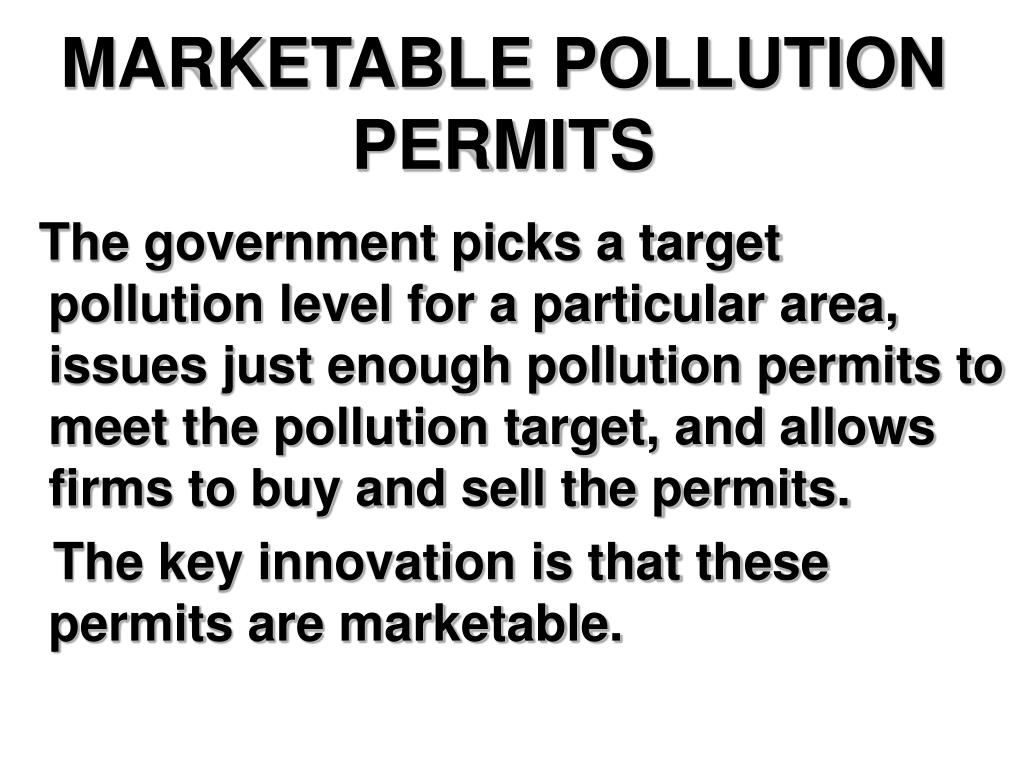 MARKETABLE POLLUTION PERMITS