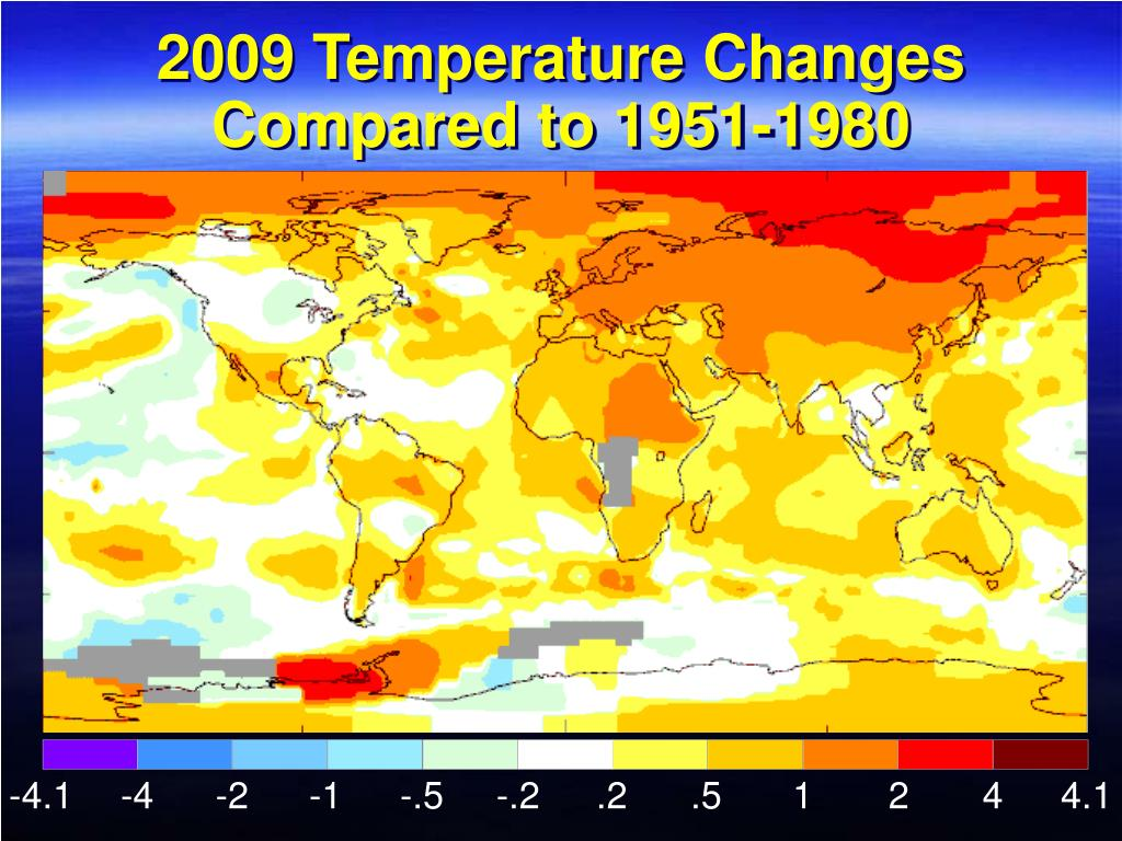 2009 Temperature Changes Compared to 1951-1980