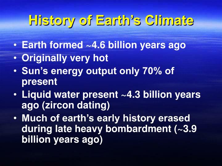 History of earth s climate