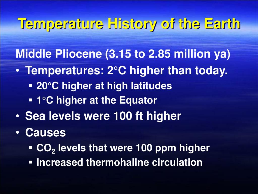 Temperature History of the Earth
