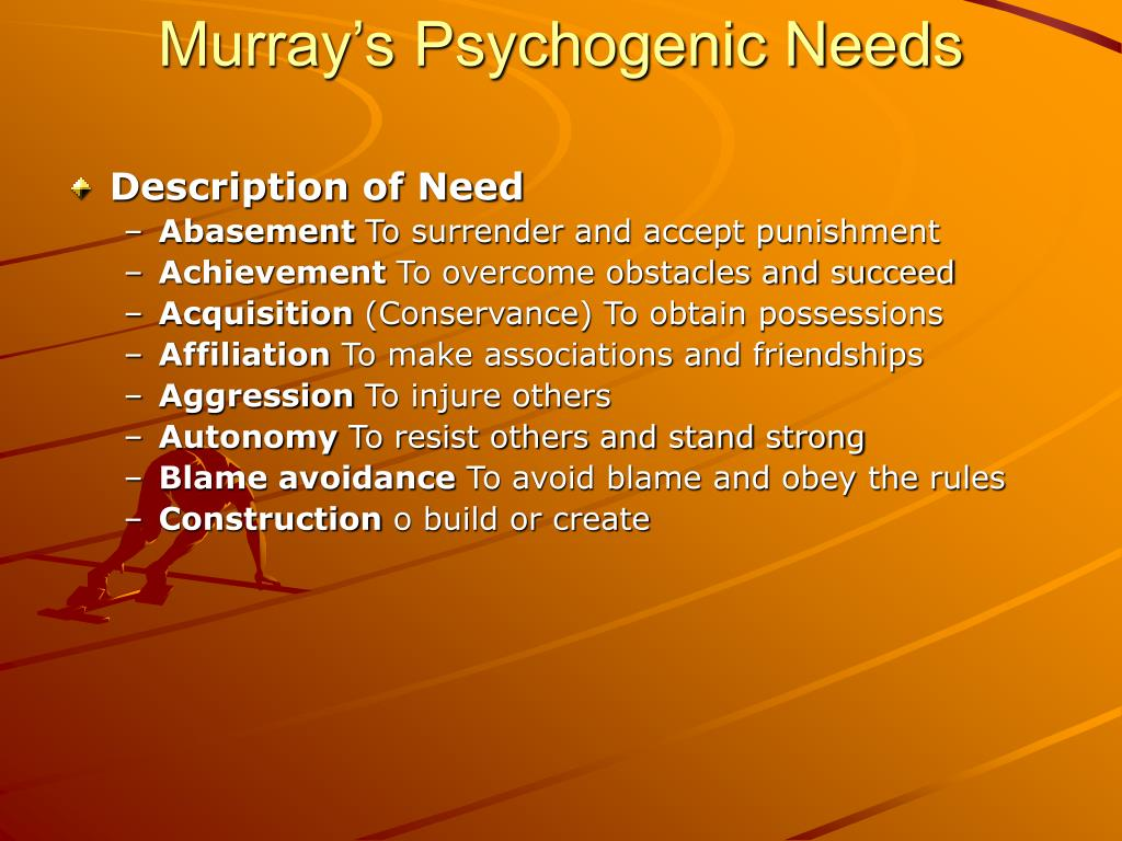 murray needs Psychogenic needs henry murray's history is anything but a prerequisite for a career in psychology he earned his bachelor's degree in history in 1915, a medical.
