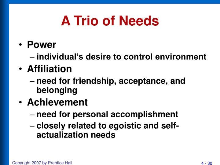 A Trio of Needs