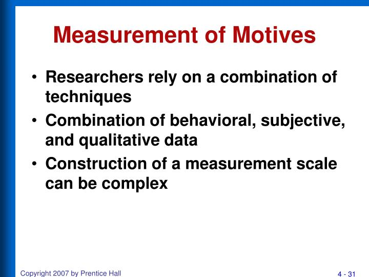 Measurement of Motives