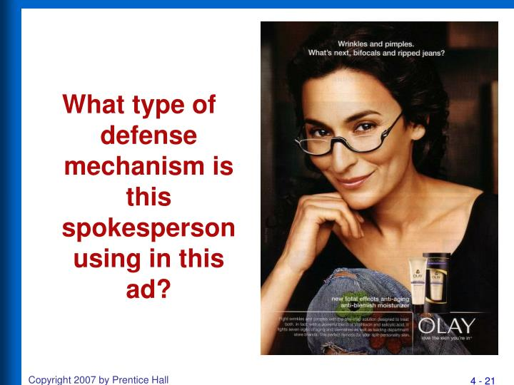 What type of defense mechanism is this spokesperson using in this ad?