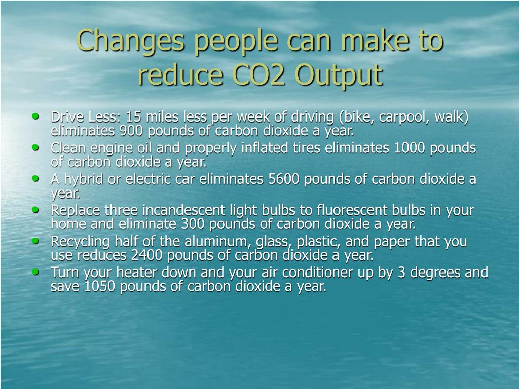 Changes people can make to reduce CO2 Output