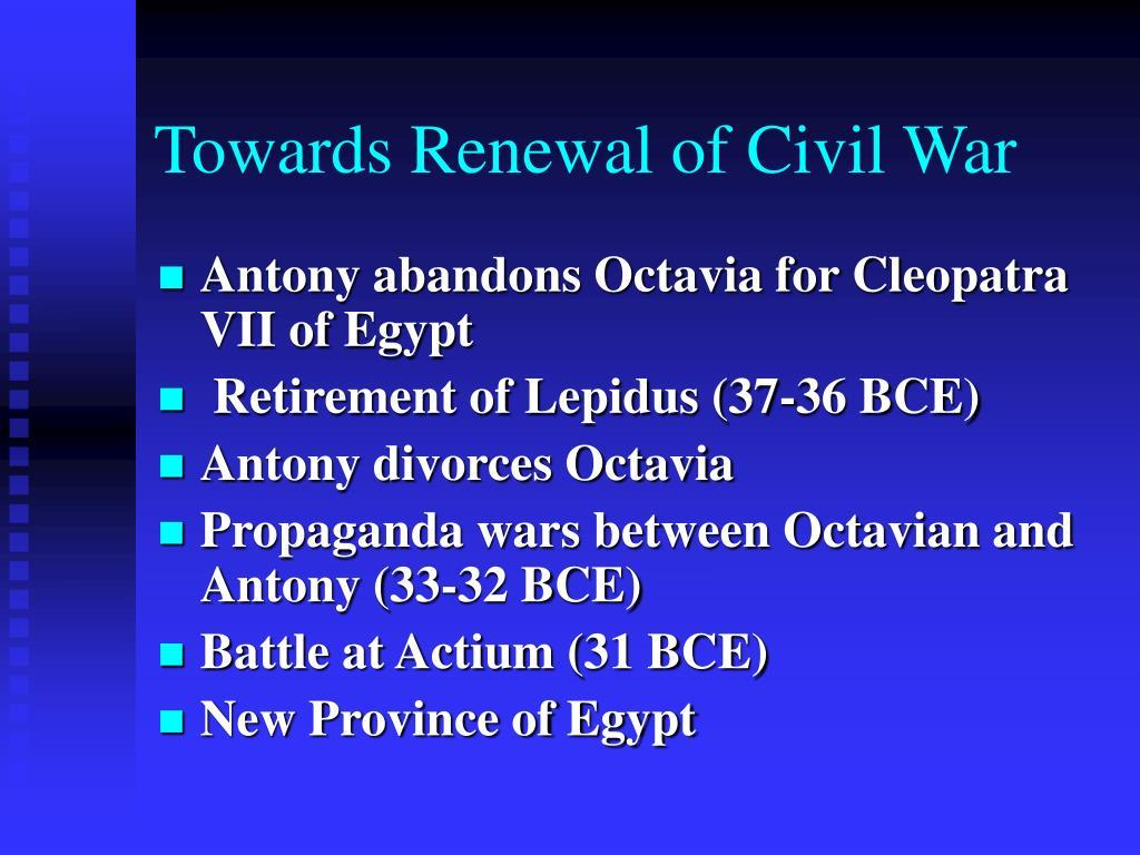 Towards Renewal of Civil War