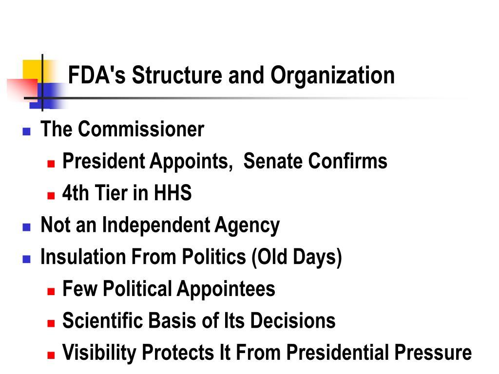 FDA's Structure and Organization